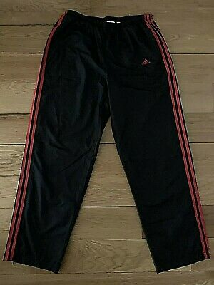 5700a6e88042 Adidas Men's Black Red Stripe Athletic Track Pants L Large Ankle Zip Mesh  Lined