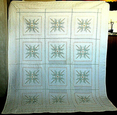 "Vintage Handmade Embroidered Bedspread Dated 1971 Measures 67"" W X 84"" L White"