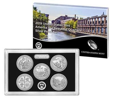 2019 S Silver Quarter Proof Set 5 Coin With Box & COA 01