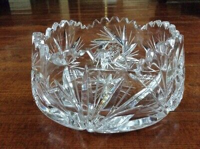 1950's Vintage Lead Crystal Cut Glass Heavy Bowl Decorative Piece Stars