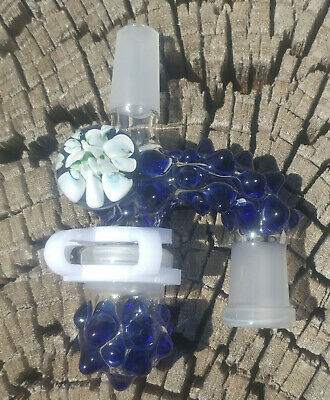 White Implosion Blue Dot 14mm Male - 14 Female Glass Reclaim Removable Jar USA