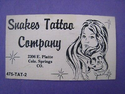 Vintage TATTOO ARTIST Business Card ..'' SNAKES TATTOO COMPANY '