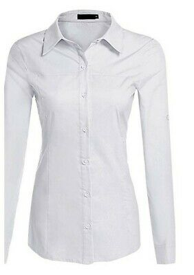 c706d6937f7 Hotouch Womens Long/Short Sleeve Cotton Basic Simple Button Down Shirt