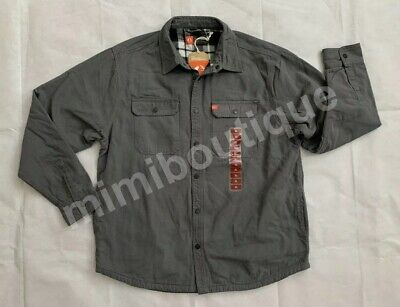 a067a48ac8e0 The American Outdoorsman Men's Canvas Shirt Jacket Plaid Flannel Lined Grey  $100