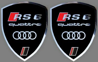2 autocollants stickers noir chrome AUDI RS 6  (idéal ailes avant) RS6