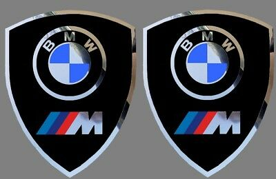2 autocollants stickers noir chrome BMW MOTORSPORT  (idéal ailes avant)