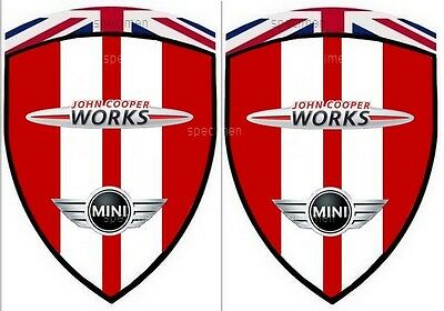 2  stickers MINI COOPER JOHN COOPER WORKS JCW CHILI RED (ailes avant)