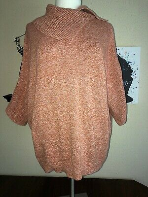 CAbi  #3011 Medium Foldover Neck Sweater Orange Dolman Sleeves Oversize Top