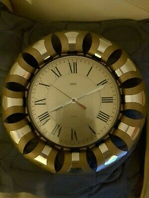 Vintage Smiths Wall Clock, Art Deco, Sunburst/Starburst, Retro Battery Working