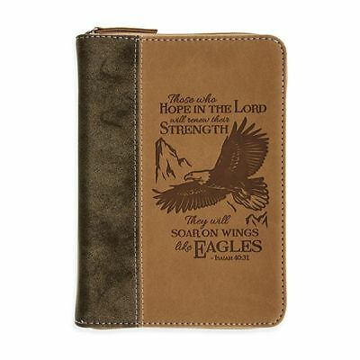 Men's Isaiah 40:31 Christian Scripture Journal Faux Leather Zippered 400 p Eagle