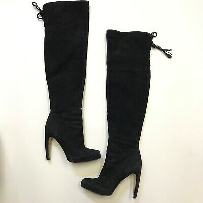 acbd8458a Sam Edelman Kayla Women s Black Suede Over The Knee High Heel Boots Shoes  7.5