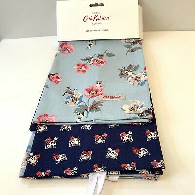 Cath Kidston Tea Towels Set Of Two Siamese Cats And Flowers Cotton Blue Navy