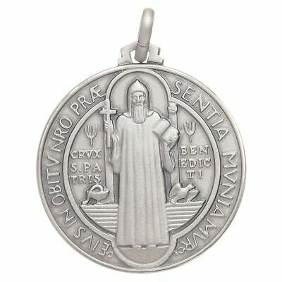 St. Benedict 925 Silver Medal -Pendant - Catholic Exorcism -Blessed By Pope