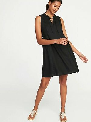 1b7e0eccf084ed Old Navy Women s Lace-Up Sleeveless Swing Dress Size M Petite- Black- NWT