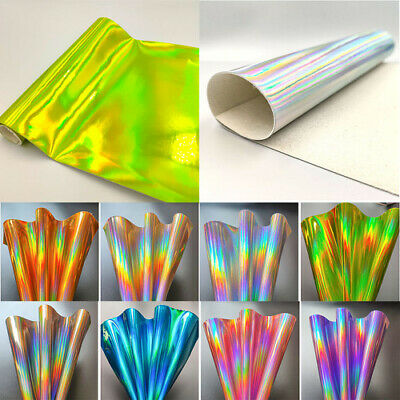 Holographic Laser Mirrored Vinyl Faux PU Leather Bag Dress Fabric Craft Cloth