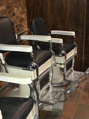 Theo A Kochs Vintage Black SET of 3 Barber Chairs Excellent Condition
