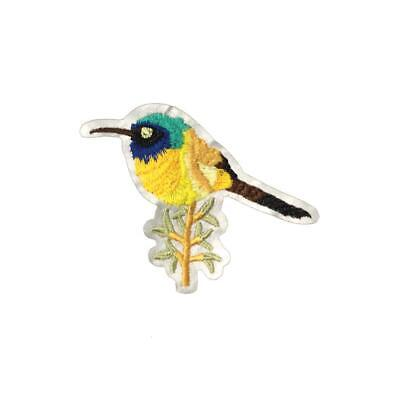 Hummingbird Branch (Iron On) Embroidery Applique Patch Sew Iron Badge