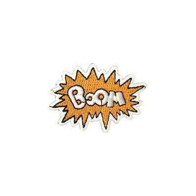 Orange Boom Text Effect (Iron On) Embroidery Applique Patch Sew Iron Badge