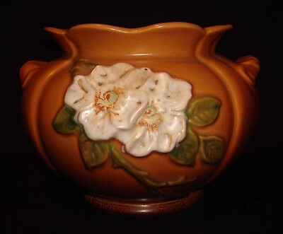 Vintage Weller Art Pottery G-11 Wild Rose Brown Jardiniere Planter CRISP MOLD