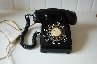 Vintage 1950'S Bell System By Western Electric Black Rotary Desk Phone C/D 500