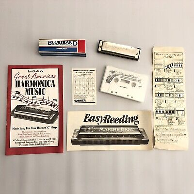 Hohner BluesBand Harmonica Key of C Stainless Steel Instructional Tape And Book