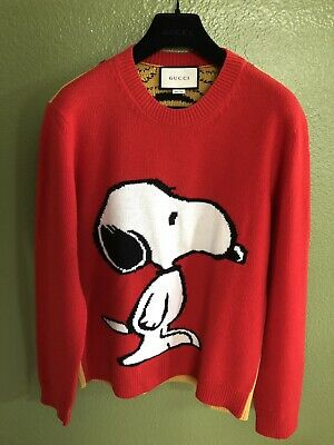 baa52368fb8 100% AUTHENTIC GUCCI Peanuts Snoopy Tiger Stripes Red Wool Sweater ...
