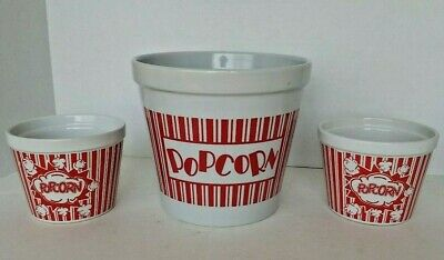 Ceramic Red and White Heavy Popcorn Bowl w/2 Single Serving Bowls.