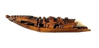 Antique Chinese Bamboo Fishing Boat Hand Carved