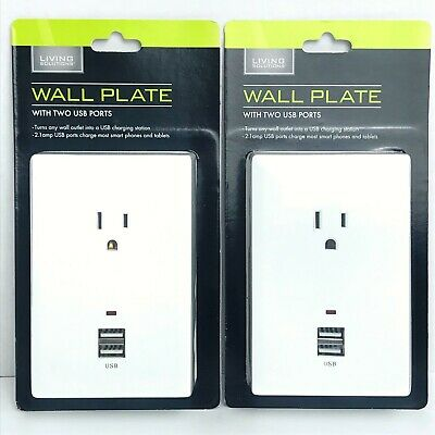 2 Living Solutions Charging Stations With 2 USB Ports & 1 AC Outlet Wall Plate