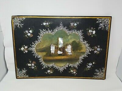 Antique Victorian Papier Mache Desk Top Blotter Inlaid Mother of Pearl 24x15
