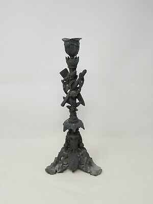 Antique Spelter Candle Stick ~ Medieval Knight Helmet Armour Crest Chain