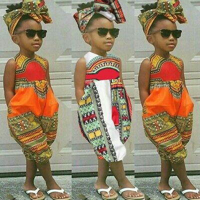 Toddler Kids Baby Girl Outfits African Print Sleeveless Romper Jumpsuit Headband