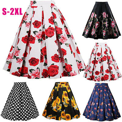 07dfa99d8 Girls Womens Vintage A-line High Waist Printed Pleated Midi Skirts Flared  Gown