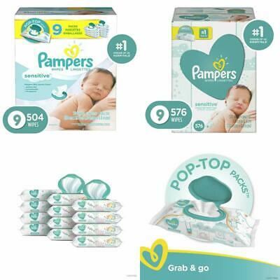Pampers Baby Wipes Sensitive Water Based 3 Package Pack of 504, 576 & 864 Count
