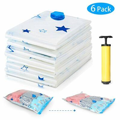 6 Pack Strong Vacuum Compressed Storage Bags Space Saver Bags Reusable with Pump