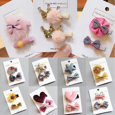 2PCS Floral Cute Bowknot Hair Clips Pin Snap Hairpin Headwear Kids Baby Girls