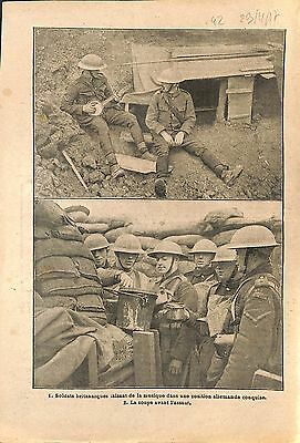Soldiers Tommies British Army Trench Bataille de la Somme WWI 1917 ILLUSTRATION