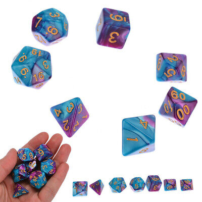 7Pcs D4-D20 Polyhedral Dice Set for DND TRPG MTG Party Game Toy Gift Purple Blue