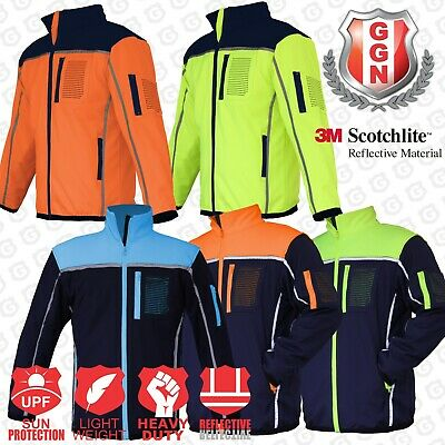 HI VIS Safety Jacket Soft Shell Windproof Work Wear Reflective bomber flying