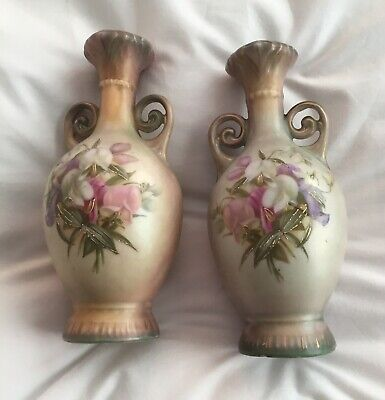 Antique Pair Of Royal Worcester Style Vases With Flowers