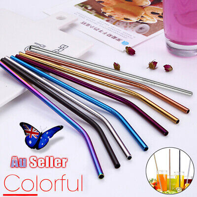 Reusable Rainbow Stainless Steel Metal Drinking Straw Straws & Cleaning Brush AU