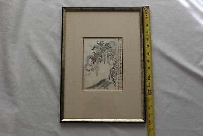 Japanese woodblock or hand painting with frame, 1700-1800
