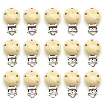 15Pcs Wooden Suspender Soother Pacifier Holder Safe Dummy Clips For
