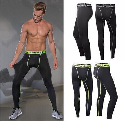 New Mens Compression Pants Sports Base Layer Long Tights Workout Running Gym