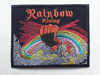Rainbow Rising Fist Heavy Metal Rock Music Band Embroidered Patch Uk Seller