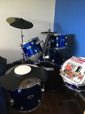 5 Piece Blue Drum Kit Full Size Complete Set Stool Cymbals Snare Drums Noise Pad