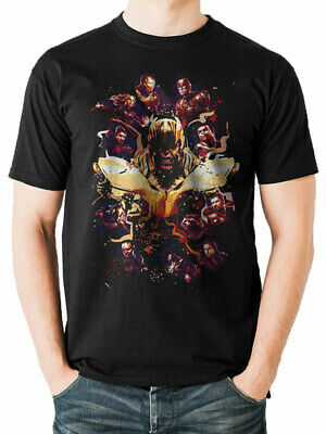 Official Marvel Comics - Thanos Movie Poster Characters Splatter Black T-Shirt