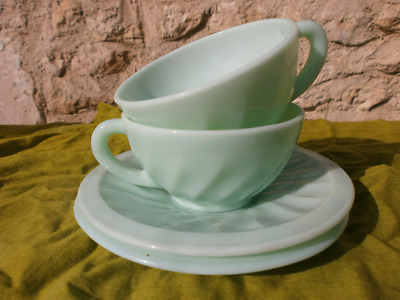 A Pair of Art Deco GREEN cups and saucers, vintage, retro, coffee, tea French