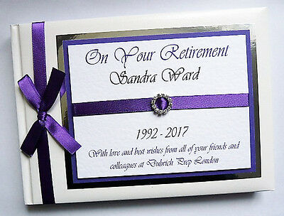 Personalised Purple Retirement/Wedding Guest Book - Any Colour