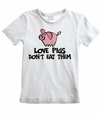LOVE PIGS DON'T EAT THEM UNISEX KIDS T-SHIRT  Vegetarian Vegan Veggie Childrens